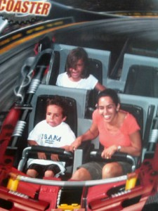 Beckett wearing his USANA shirt on his first rollercoaster ride -- click to see the trauma up-close.